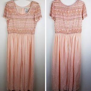 VTG ADRIANNA PAPELL Silk Beaded Sequin Peach Gown